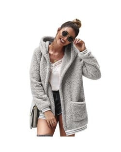 High Fashion Fluffy Style Long Sleeves Winter Fashion Hooded Women Top - Gray