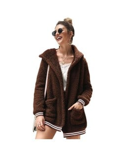 High Fashion Fluffy Style Long Sleeves Winter Fashion Hooded Women Top - Brown