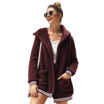 High Fashion Fluffy Style Long Sleeves Winter Fashion Hooded Women Top - Wine Red