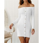 Off-shoulder High Fashion One-piece Slim Style Short Women Dress - White