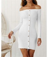 Off-shoulder High Fashion One-piece Slim Style Short Women Dress - White