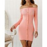 Off-shoulder High Fashion One-piece Slim Style Short Women Dress - Pink
