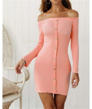 Off-shoulder High Fashion One-piece Slim Style Short Women Dress - Pink