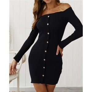 Off-shoulder High Fashion One-piece Slim Style Short Women Dress - Black