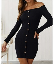 Off-shoulder High Fashion One-piece Slim Style Short Women Dress - Black