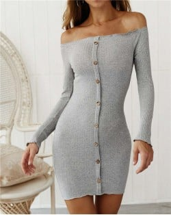 Off-shoulder High Fashion One-piece Slim Style Short Women Dress - Gray