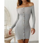 Off-shoulder High Fashion One-piece Slim Style Short Women Dress - Gray