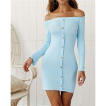 Off-shoulder High Fashion One-piece Slim Style Short Women Dress - Sky Blue