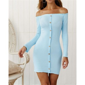 Off-shoulder High Fashion One-piece Slim Style Short Women Dress - Sky Blue