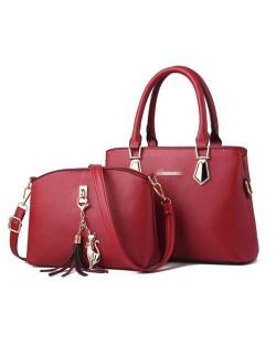 (5 Colors Available) Elegant Tassel Design High Fashion Women PU Tote Bag and Shoulder Bag Set