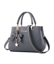 (7 Colors Available) Graceful Bowknot and Flower Pendant Decorated Women PU Tote Bag/ Shoulder Bag