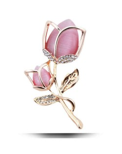 Opal and Rhinestone Embellished Tulip Design Women Fashion Alloy Brooch - Golden