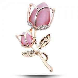 Opal and Rhinestone Embellished Tulip Design Women Fashion Alloy Brooch - Golden