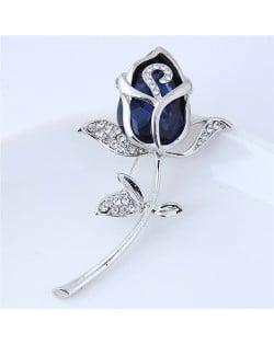 Opal and Rhinestone Embellished Tulip Design Women Fashion Alloy Brooch - Silver