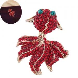 Red Rhinestone Embellished Shining Golden Fish Design High Fashion Women Alloy Brooch