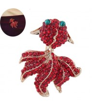 Red Rhinestone Embellished Shining Golden Fish Design High Fashion Women Alloy Brooch