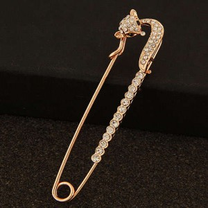 Rhinestone Embellished Graceful Fox Decorated Pin Style Golden Alloy Women Brooch