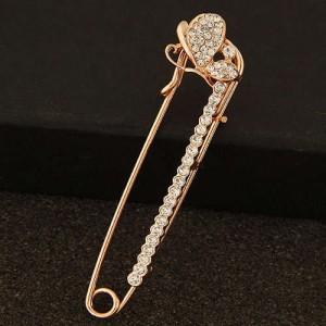Rhinestone Embellished Glistening Butterfly Pin Style Golden Alloy Women Brooch