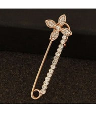 Rhinestone Embellished Flower Decorated Pin Style Golden Alloy Women Brooch