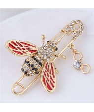 Rhinestone Embellished Golden Bee Design Pin Style Women Alloy Brooch
