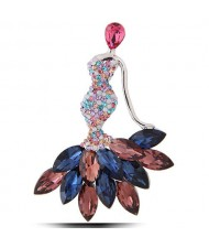 Czeche Rhinestone Mermaid Design High Fashion Women Alloy Brooch