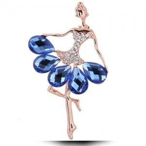 Young Ballet Dancer Czeche Rhinestone High Fashion Alloy Women Brooch