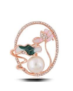 Graceful Lotus Design Hollow Fashion Women Alloy Brooch