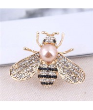 Rhinestone and Pearl Embellished Shining Bee Design Alloy Women Brooch