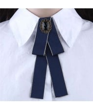 Floral Decoration Cloth Fashion Women Brooch - Dark Blue