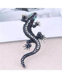Shining Rhinestone Decorated Gecko Design Alloy Women Brooch