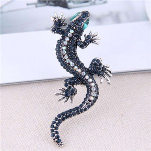 Shining Rhinestone Decorated Gecko Design Alloy Women Brooch