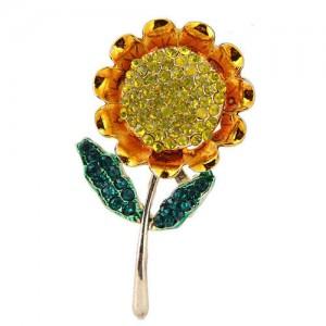 Rhinestone Sunflower Design Alloy Women Brooch