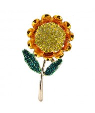 Rhinestone Sunflower Design Alloy Women Brooch