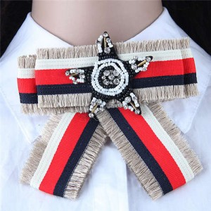 Beads Star Decorated Cloth Fashion Women Brooch - Gray