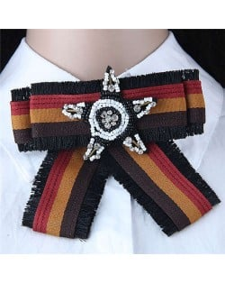 Beads Star Decorated Cloth Fashion Women Brooch - Dark Brown