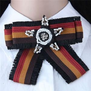 Beads Star Decorated Cloth Fashion Women Brooch - Dark Brown