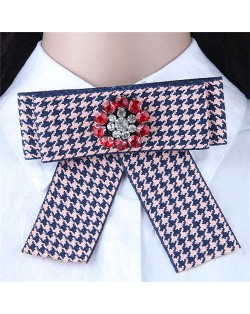 Rhinestone Flower Decorated Tartan Pattern Cloth Fashion Women Brooch