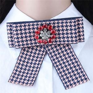 Rhinestone Flower Decorated Tartan Pattern Cloth Fashion Women Brooch