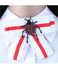 Rhinestone Beetle Decorated Cloth Fashion Women Brooch - White