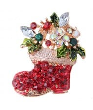 Rhinestone Floral Style Christmas Boot Design Fashion Alloy Women Brooch