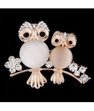 Czeche Rhinestone Embellished Night Owls Korean Fashion Alloy Women Brooch