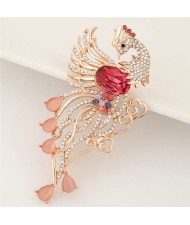 Rhinestone Embellished Phoenix Design Golden Alloy Women Brooch