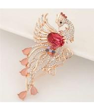 Rhinestone Embellished Phoenix Design Golden Alloy Women Brooch