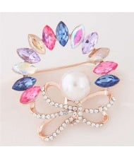 Rhinestone and Gem Embellished Floral Design High Fashion Alloy Women Brooch - Multicolor