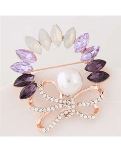 Rhinestone and Gem Embellished Floral Design High Fashion Alloy Women Brooch - Violet