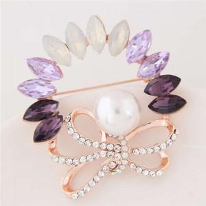 Rhinestone and Gem Embellished Floral Design High Fashion Alloy Women Brooch - Violet