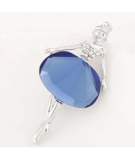 Rhinestone and Glass Decorated Graceful Ballet Dancer Alloy Women Brooch - Ink Blue