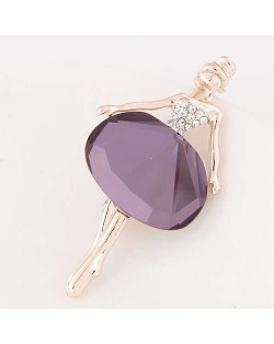 Rhinestone and Glass Decorated Graceful Ballet Dancer Alloy Women Brooch - Violet