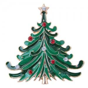 Rhinestone Embellished Christmas Tree Design High Fashion Alloy Women Brooch