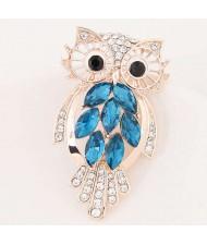 Czeche Rhinestone Hollow Style Night Owl Korean Fashion Alloy Women Brooch